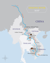 Mekong River Map With Country And City Location