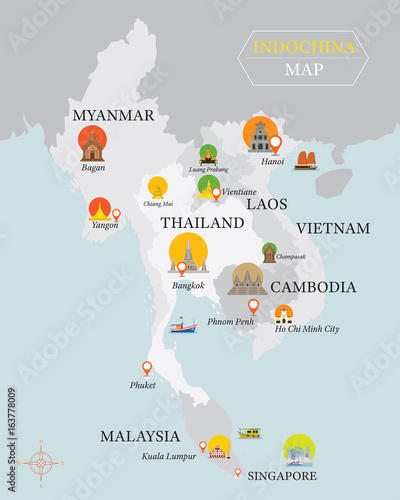 Fotografia  Indochina Map with National Capital Landmarks Icons