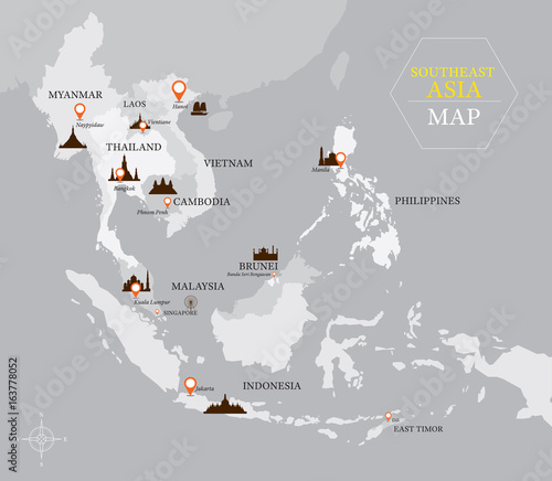 Fotomural  Southeast Asia Map with Country and Capital Location