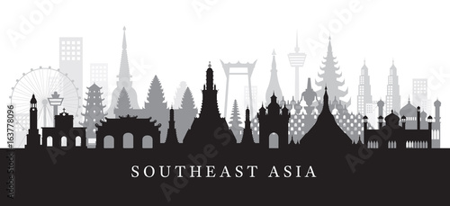 Southeast Asia Landmarks Skyline in Black and White Silhouette Canvas Print
