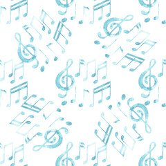 Watercolor musical notes pattern