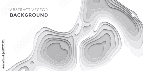 Fotografie, Obraz  3D papercut layers, paper cut vector art background banner texture website templ