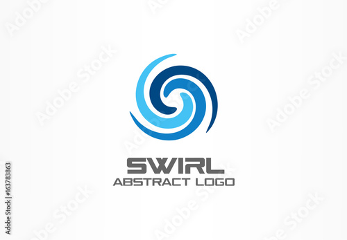 Obraz Abstract logo for business company. Corporate identity design element. Eco, nature, whirlpool, spa, aqua swirl Logotype idea. Water spiral, blue circle three segment mix concept. Colorful Vector icon - fototapety do salonu