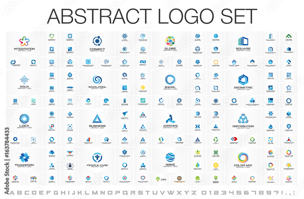 Fototapeta Abstract business logo set. Corporate identity design elements. Network connect, integrate, grow concepts. Science technology, health and medical, market logotype collection. Color Vector brand icons