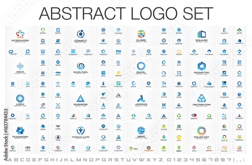 Fototapeta Abstract business logo set. Corporate identity design elements. Network connect, integrate, grow concepts. Science technology, health and medical, market logotype collection. Color Vector brand icons obraz
