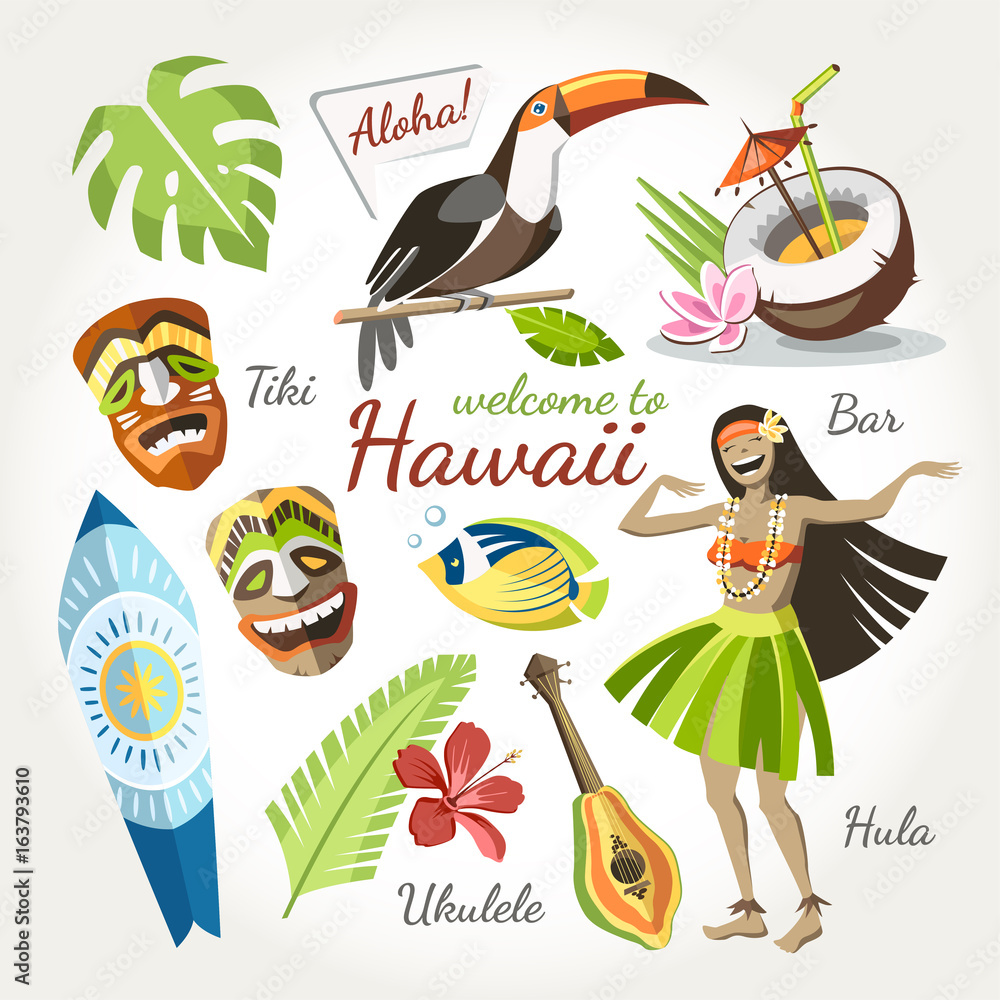 Fototapeta hawaii vector collection of traditional objects set with bird toucan girl dancing hula tiki mask ukulele surf and tropical leaves and flowers cocktail and fish