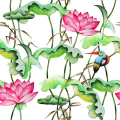 Panel Szklany Do łazienki Seamless pattern with pink lotuses and kingfisher watercolor painting.