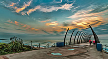 Digital Painting Of The Umhlanga Rocks Pier Near Durban, At Sunrise.