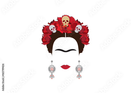 Fototapeta  portrait of Mexican woman with skulls , Mexican crafts earrings and red flowers,