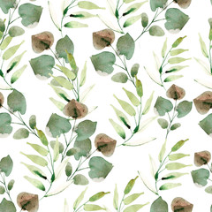 Naklejka Liście Bright watercolor pattern with leaves. Illustration