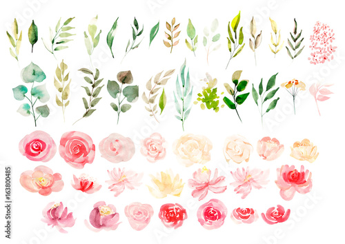 Photo Watercolor set with flowers.