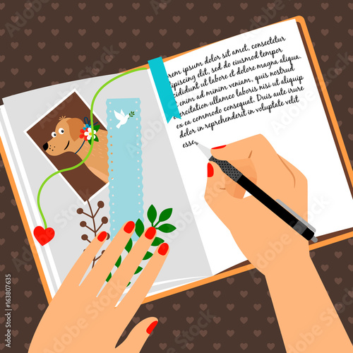 Girls diary scheduler with bookmark Wallpaper Mural