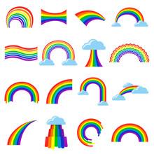 Rainbow Icon Cartoon Flat Set