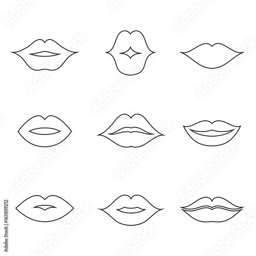 Canvas Print Lips outline thin art set