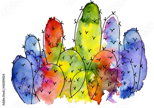 watercolor-cactus-abstract-colorful