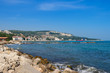 View of the balchik city on black sea coast in Bulgaria at sunny summer day