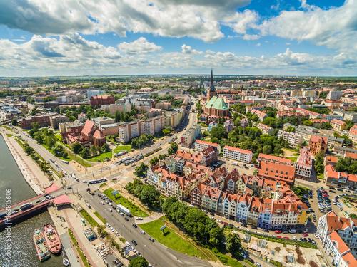 Obraz Krajobraz Szczecina z katedrą i rzeką Odrą - fototapety do salonu