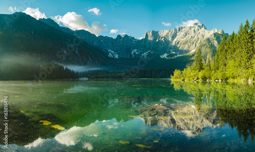 High resolution panorama of the Laghi di Fusine alpine lake in the Julian Alps i Canvas Print