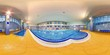 Big indoor swimming pool with blue water at fitness centre with yellow floor tiles full 360 degree panorama in equirectangular spherical projection