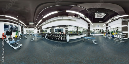 Fotografia  Big modern fitness gym with dumbbells weights and other sport equipment full 360