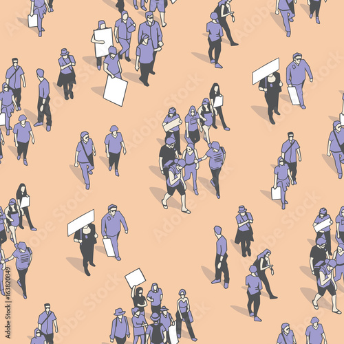 Fényképezés  Seamless pattern / background / texture of crowd protest in vintage colors