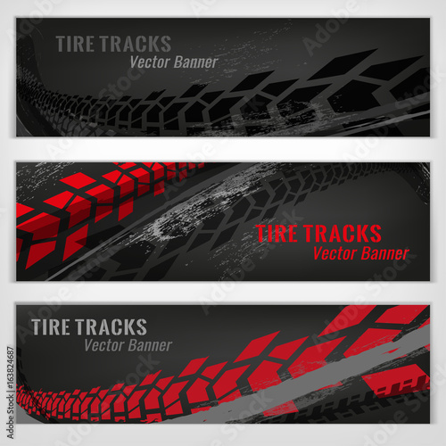 Fotografiet  Tire track banners