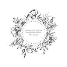 Hand Drawn Flower Round Frame. Vector Floral Wedding Design In Sketch Style