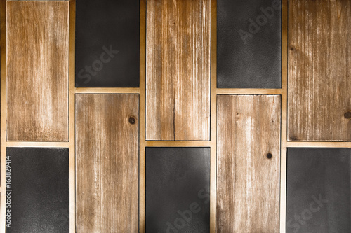 Valokuva  Abstract wood and tile backdrop pattern