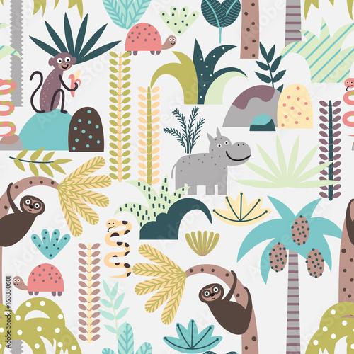 fototapeta na lodówkę Seamless pattern with cute jungle animals
