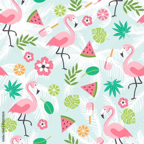 plakat Summer seamless background with flamingo