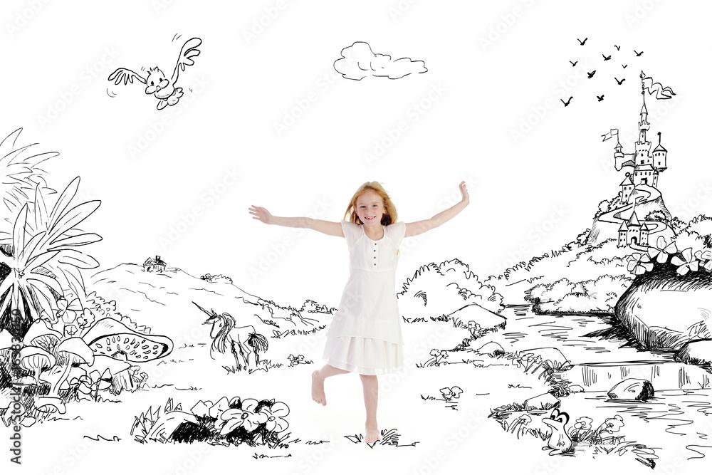 Fototapeta fillette joyeuse dansant dans un décor de rêve imaginaire dessiné