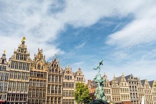 Foto op Plexiglas Antwerpen View on the beautiful buildings with fountain sculpture in the center of Antwerpen city in Belgium