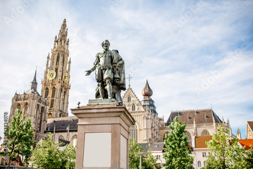 View on the Rubens statue and church in Antwerpen city, Belgium