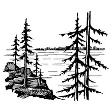 Landscape With Lake And Spruce...