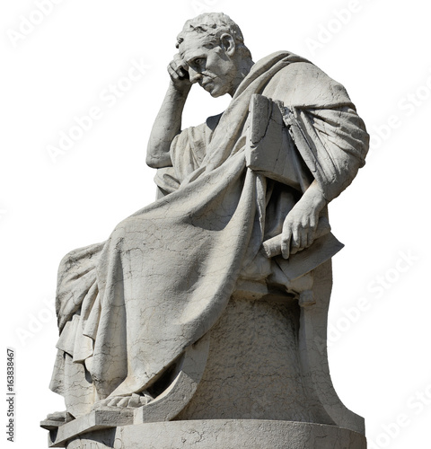 Photo sur Aluminium Commemoratif Thinking man statue of Julian the Jurist in front of Old Palace of Justice in Rome (isolated on white background)