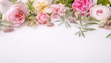 Beautiful English Rose Flower Bouquet On White Background