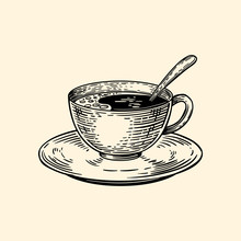 A Cup Of Coffee On A Saucer With A Spoon. Vector Illustration In Sketch Style