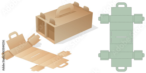 Retail Shoes box with Blueprint. Template Cube carton package with ...