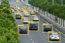 Machine Learning Analytics Identify Vehicles Technology , Artificial Intelligence Concept. Software Ui Analytics And Recognition Cars Vehicles In City..