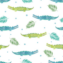 Seamless Watercolor Crocodile Pattern. Vector Background With Alligators.