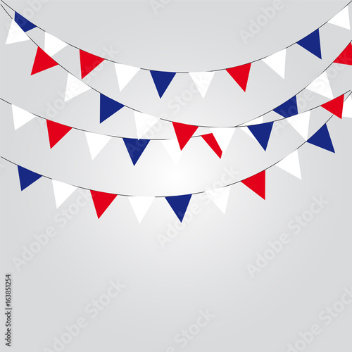 Fotografía  Garlands of red white blue flags. Vector illustration