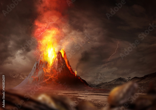 Poster Deep brown Massive Volcano Eruption. A large volcano erupting hot lava and gases into the atmosphere. 3D Illustration.