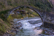This Bridge Over The Fırtına Stream In The Town Of Çamlıhemşin In Rize Province Has Been Erased In Such A Way That The Book On The Scarecrow Wall Can Not Be Read. However, It Is Thought To Have Been B