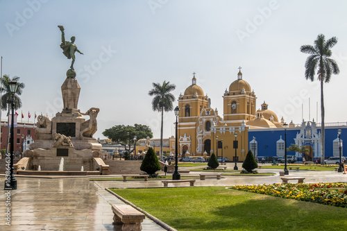Photo Stands South America Country Main Square (Plaza de Armas) and Cathedral - Trujillo, Peru