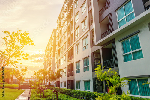 Modern apartment buildings exteriors or Contemporary Architecture Office In The Canvas Print