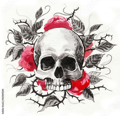 Printed kitchen splashbacks Watercolor skull Skull and red flowers