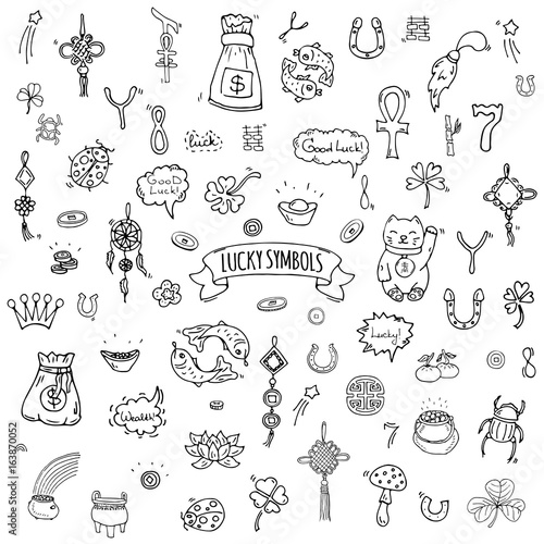 Hand drawn doodle Lucky symbols icon set Vector illustration isolated Luck symbo Fototapete
