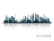 Kuala Lumpur, blue skyline silhouette with reflection. Vector illustration.