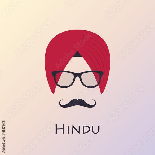 Fotografía Indian man head icon. Indian culture. Vector illustration.