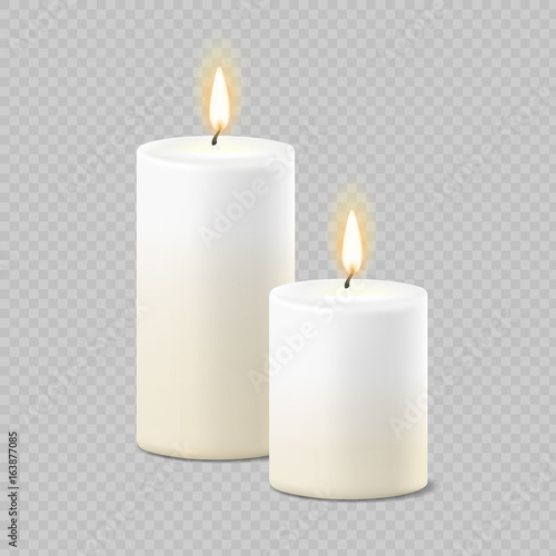 Fototapeta Set of realistic vector white candles with fire on transparent background